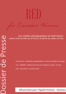 Couverture du dossier de presse du projet RED for Executive Women - 100 portraits pour l'Egalité Femmes-Hommes créé par Gaël Dupret